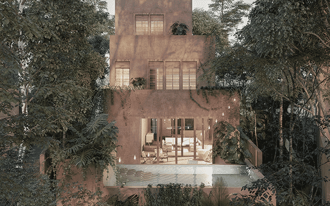 villa surrounded by jungle